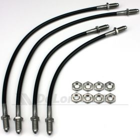 Black Coated Stainless Braided Brake Hoses / Lines (set)