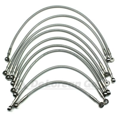Clear Coated Stainless Braided Fuel Lines / Hoses (set of 9)