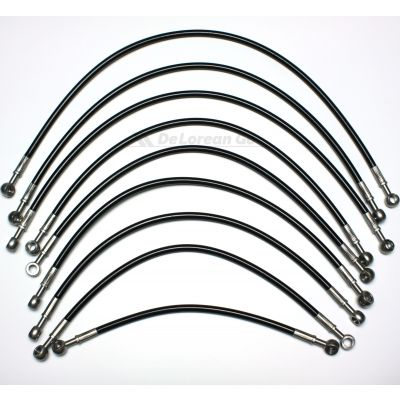 Black Coated Stainless Braided Fuel Lines / Fuel Hoses (set of 9)