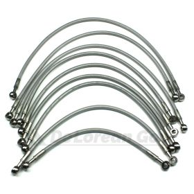 Clear Coated Stainless Braided Fuel Lines / Hoses (set of 9) (back soon!)