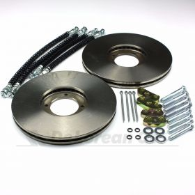 Vented Front Brake Discs PAIR with Hoses - Power Brakes Kit 3