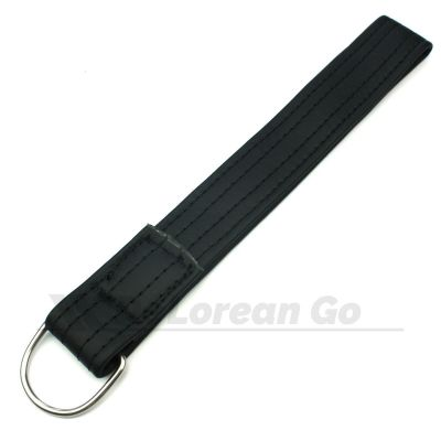 SINGLE Black Door Pull Strap with ring - early style door strap
